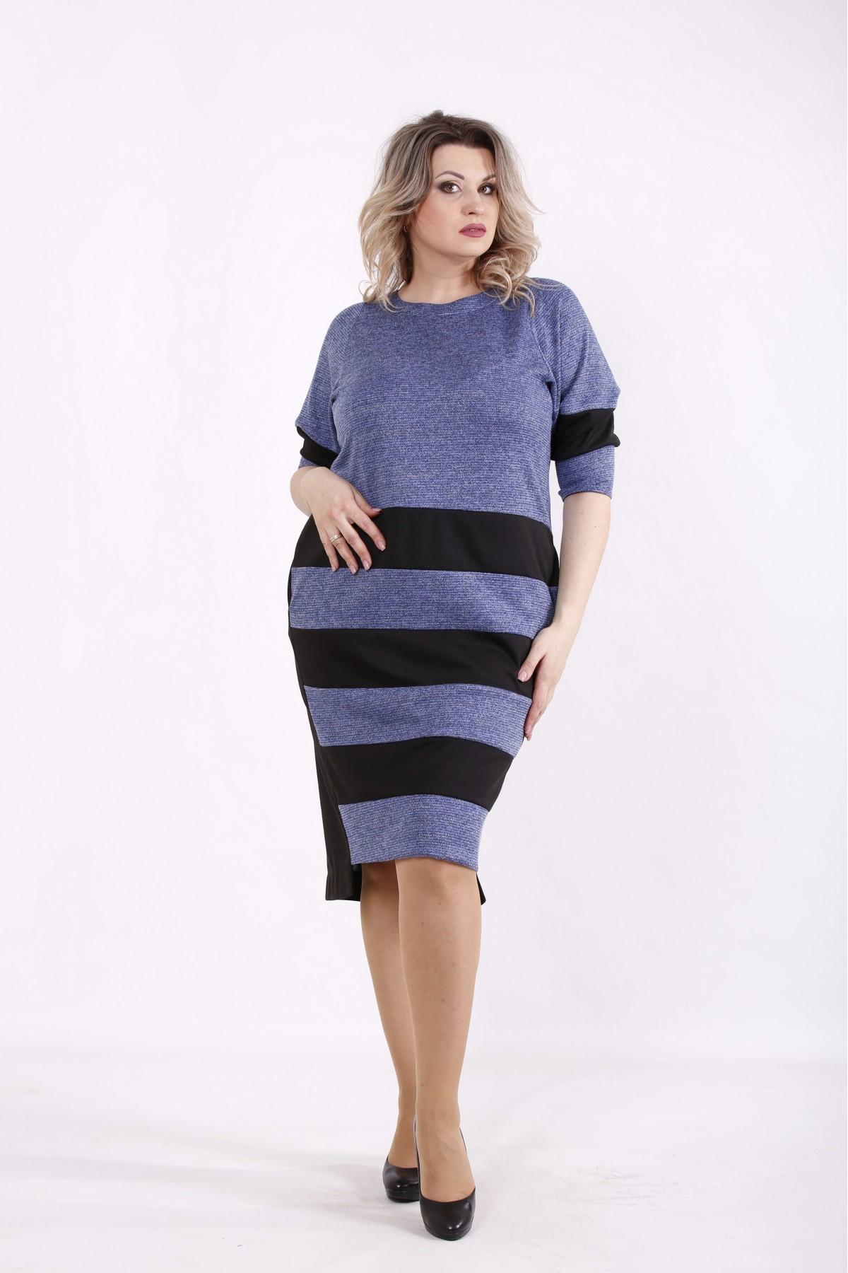 01438-3 | Синее платье с черными полосками