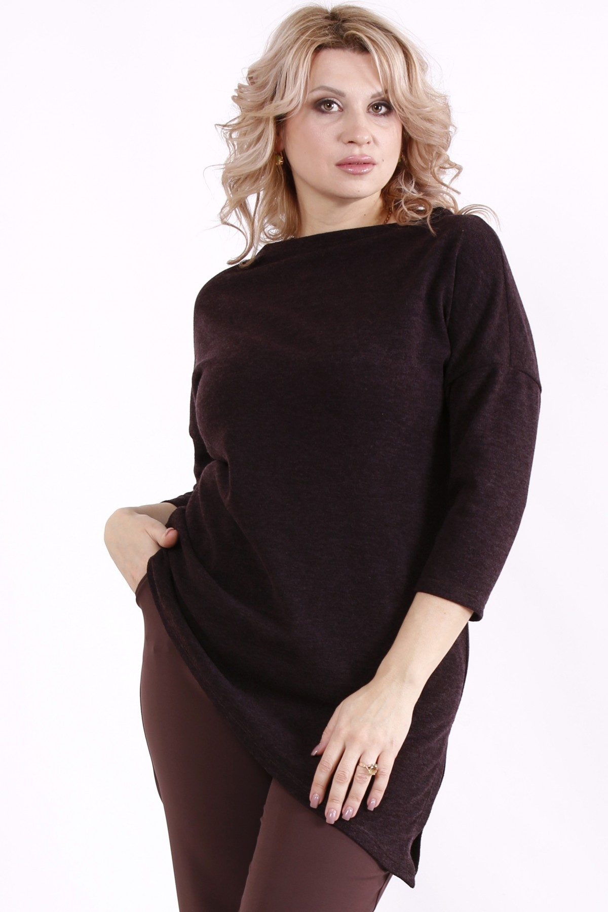 01716-3   Шоколадная асимметричная блузка
