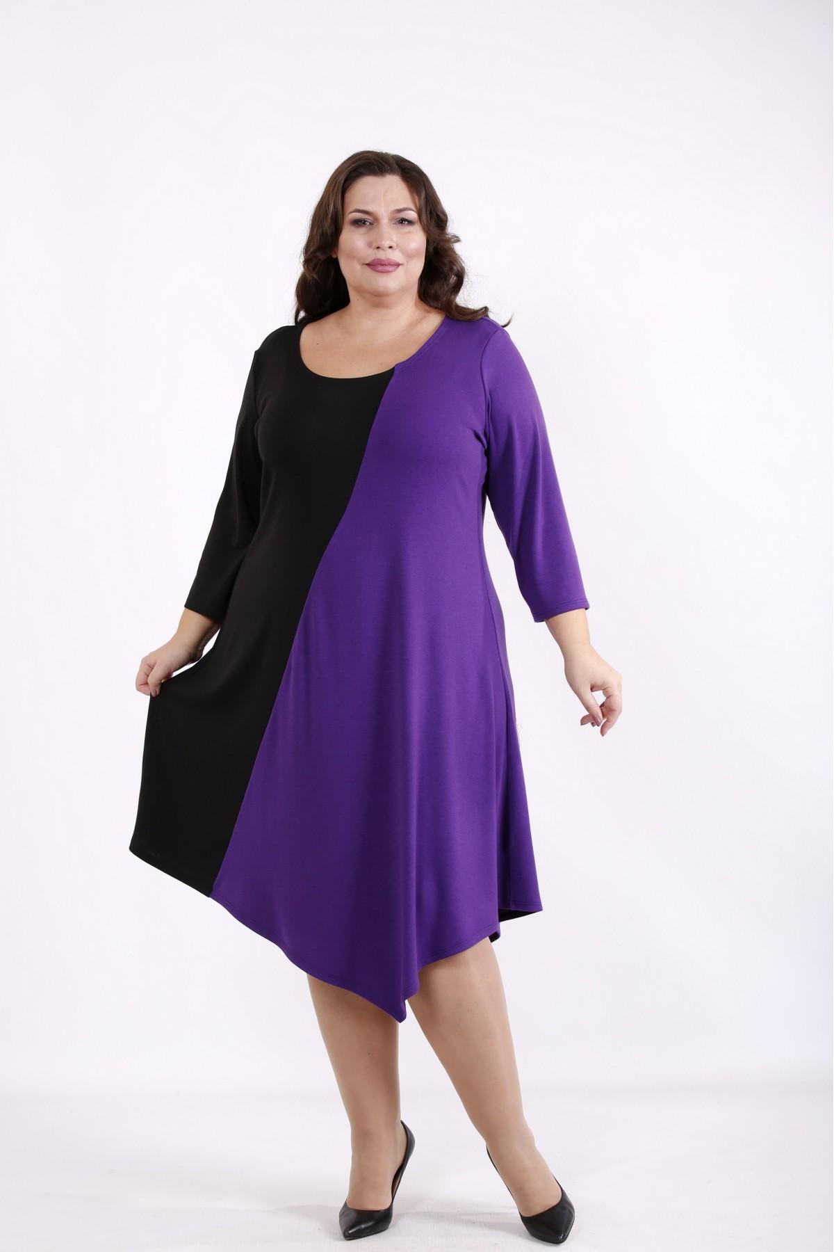 01719-1   Черно-фиолетовое комбинированное платье
