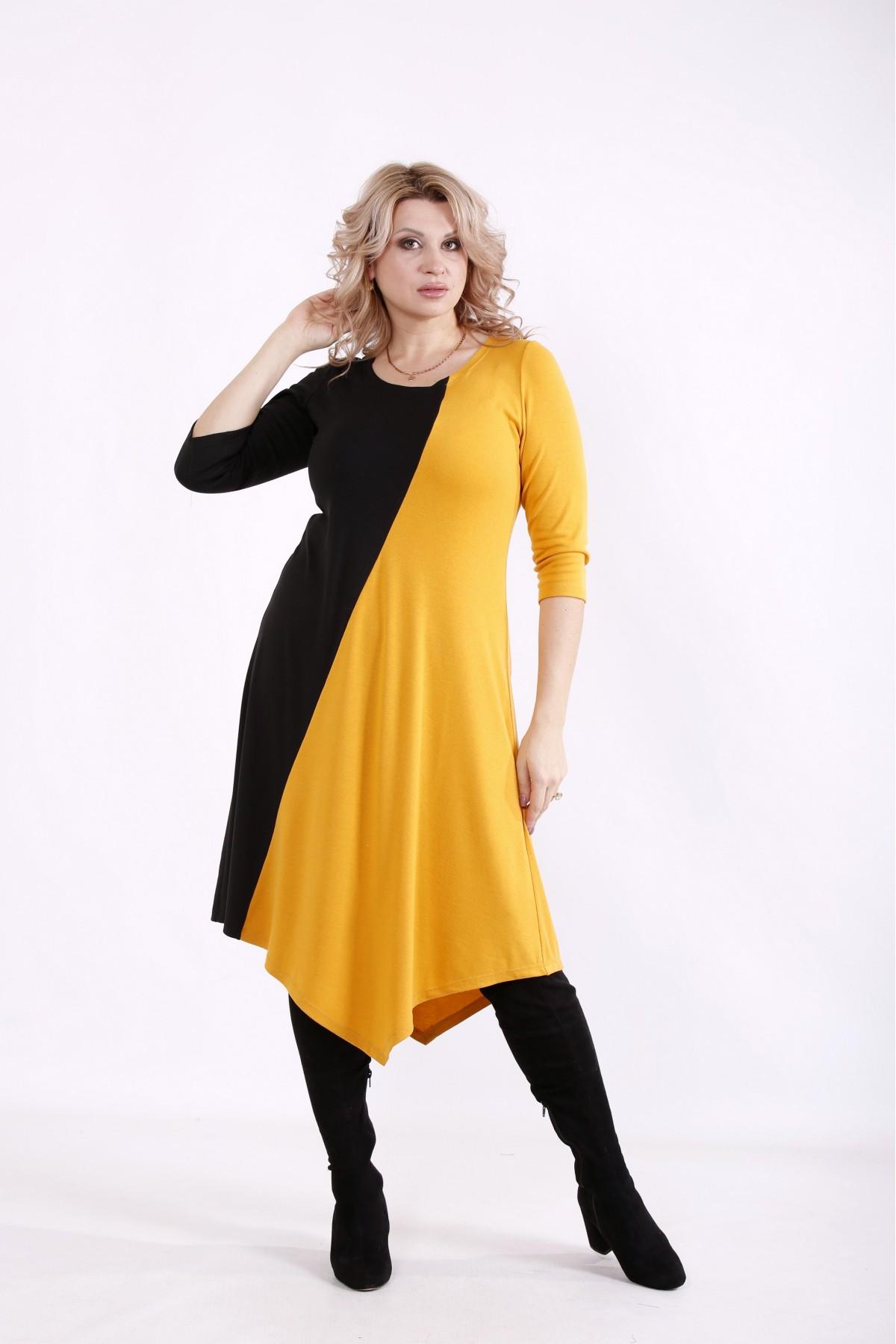 01719-3 | Черно-горчичное комбинированное платье